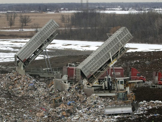 Garbage from Toronto is dumped at Republic Services Carleton Farms in Sumpter Township in March 2003.