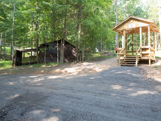 A shooting clays station, right, is next to an original