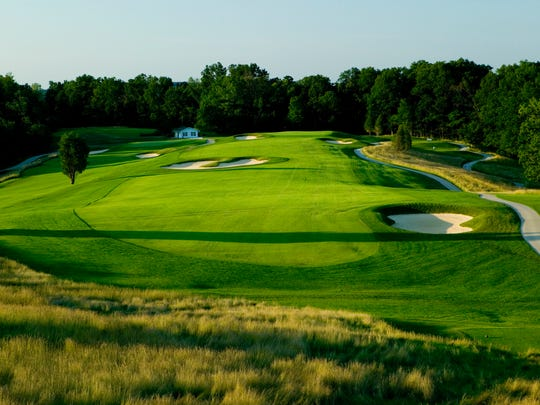 Hole No. 5 of the Ross Course in French Lick, Ind., from the elevated tee.