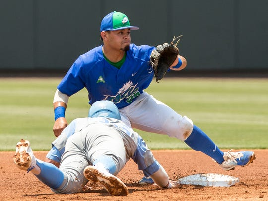 Florida Gulf Coast's Julio Gonzalez, right, awaits