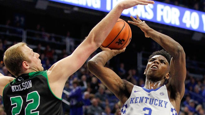 Kentucky Wildcats guard Hamidou Diallo (3) shoots the ball against Utah Valley Wolverines forward Isaac Neilson (22) In the first half at Rupp Arena in Lexington, Kentucky, on Friday, Nov. 10, 2017.
