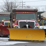 Salt trucks are loaded, idling and ready to go at the Department of Public Works and Engineering in Freehold, NJ   Monday January 26, 2015.