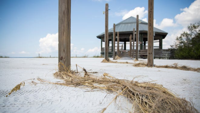 Hurricane Irma left wooden walkways buried in sand on the beach at Lovers Key State Park on Friday, Sept. 22, 2017.