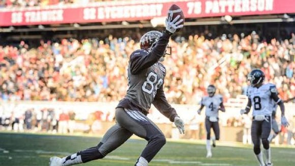 Duron Carter #89 of the Montreal Alouettes celebrates his touchdown during the second half of the CFL game against the Toronto Argonauts at Percival Molson Stadium on November 2, 2014 in Montreal, Quebec, Canada. The Montreal Alouettes defeated the Toronto Argonauts 17-14.