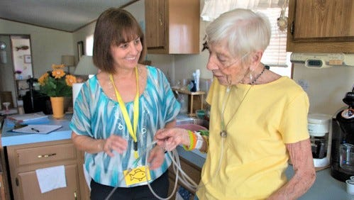 Medical professionals visited Lorraine Hermann at her Sheboygan home on May 15, 2018, and recommended lifestyle changes and offered medical advice as part of a partnership with Fresh Meals on Wheels and Concordia University.