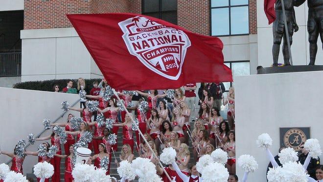 University of Alabama cheerleaders celebrate national championship wins in January in Tuscaloosa, Ala.