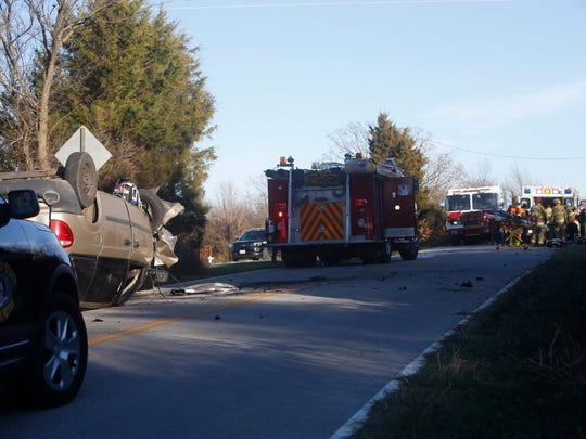 A minivan overturned on Farm Road 104 near Bois D'Arc.