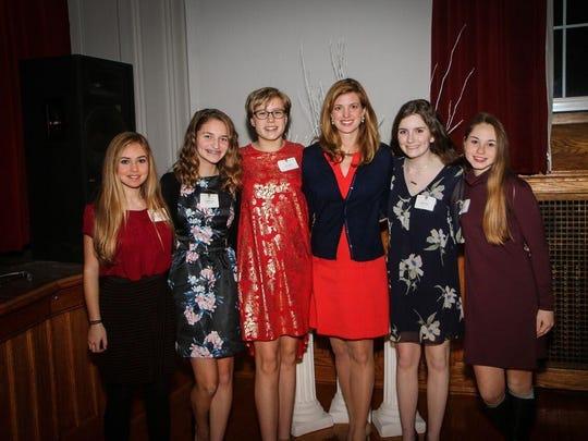 Ursuline Scholars, from left, Grace Azevedo, Samantha Hurd, Grace Smith, Guest Speaker Betsy Lazzeri Riley, Ryan Antunes and Maria Medori.