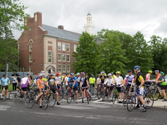 Cyclists at the Ride for Mental Health Sunday.