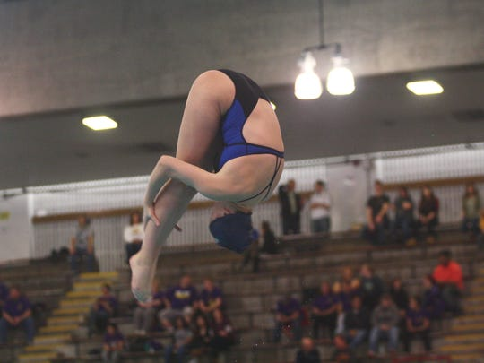 Mount Notre Dame's Teagan Moravek soars her way onto the podium with eighth place at the Division I state diving meet on Feb. 23, 2017 at C.T. Branin Natatorium.