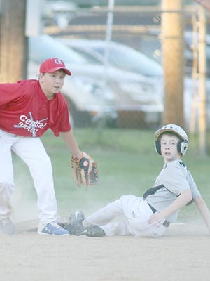 Central Realty third baseman Jackson Shelton and Huebert Fiberboard's Hayden Sandbothe both look to the infield umpire for a call in the sixth inning Wednesday night in Cal Ripken Major.