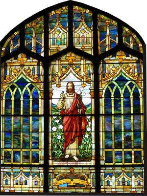This south-facing stained glass window in the Spencer Presbyterian Church is one of several in dire need of repair. The congregation is raising funds to ensure that the beauty and craftsmanship of these Tiffany-style windows will endure for another 100 years.