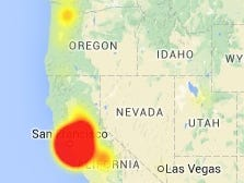 A map from Downdetector.com showing an Internet outage that hit Comcast customers on Monday, June 1, 2015.