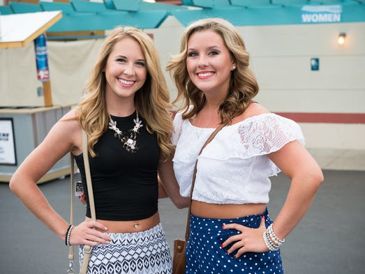 Erin Burgess and Alexa Taylor of Huntington, West Virginai at Riverbend for the OneRepublic concert on August 5.