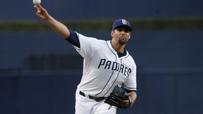 San Diego Padres starting pitcher Tyson Ross works against a Washington Nationals batter during the first inning of a baseball game Monday, May 7, 2018, in San Diego. (AP Photo/Gregory Bull)