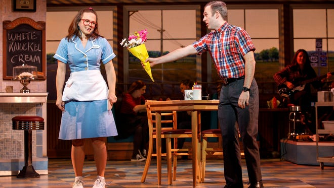 "Lenne Klingaman (left) and Jeremy Morse in ""Never Ever Getting Rid of Me,"" one of the many memorable Sara Bareilles songs that makes up the score of  ""Waitress."""