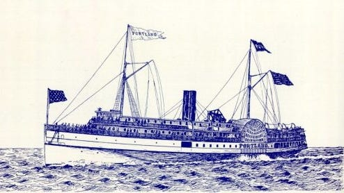 The steamer Portland, traveling between Boston and Portland, was lost in a storm during Thanksgiving weekend in 1898. Nearly half a century earlier, another steamer, the St. Lawrence, took the same route during a storm, and somehow survived, ending up safely near Highland Light in Truro.