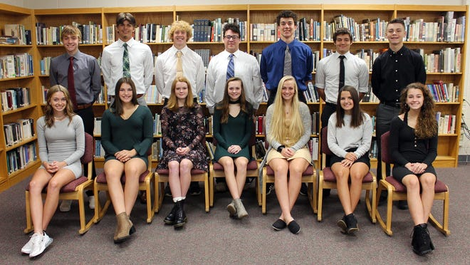 The 2020 Onsted High School homecoming court is pictured. The crowning ceremony of the king and queen will take place Friday night, Oct. 23 during halftime of the varsity football homecoming game. Court members are, front row from left, sophomore representative, Allyson Robarge; junior representative, Marin Chesser; senior queen candidates, Kylie Bosak, Dakota Vanderhorst, Emily Kilpatrick and Makenna Strack; and freshman class representative, Ava Johnson. Back row, from left are, sophomore representative, Bradlee Vanbrunt; junior representative, Logan Hunt; senior king candidates, Andrew Partika, Brady Hunt, Ethan Thompson and Greg Denkins; and freshman representative, Gabe Amsdill.