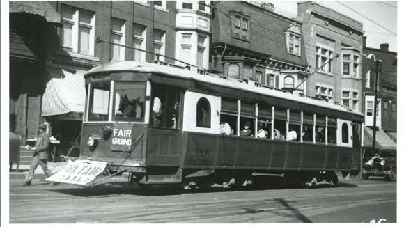 """No. 163 heads to the York Fairgrounds. Trolley expert Joel Salomon gives this bit of history about 163: """"Trolley car 163 was constructed in 1924 in Philadelphia, PA by J. G. Brill, the world's largest trolley car builder."""""""