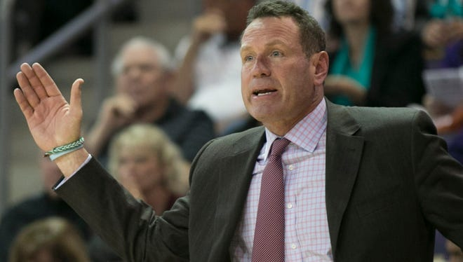Grand Canyon coach Dan Majerle yells to his team during a game against Montana State at Grand Canyon University in Phoenix on Nov. 17, 2014.