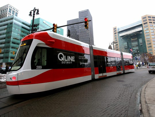 One of the QLINE streetcars makes its way on Woodward