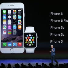 CUPERTINO, CA - SEPTEMBER 09: Apple CEO Tim Cook speaks during an Apple special event at the Flint Center for the Performing Arts on September 9, 2014 in Cupertino, California. Apple unveiled the Apple Watch wearable tech and two new iPhones, the iPhone 6 and iPhone 6 Plus.