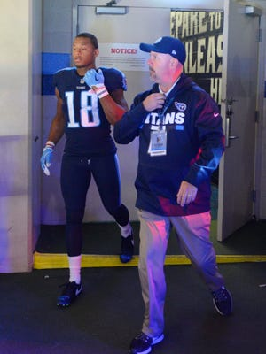 Titans wide receiver Rishard Matthews (18) stayed in the tunnel and entered the field after the National Anthem at Nissan Stadium Monday, Oct. 16, 2017 in Nashville, Tenn.