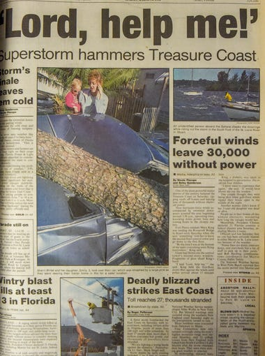The front page of The Stuart News on Sunday, March 14, 1993, the day after the 1993 superstorm ripped roofs off homes, downed trees and caused widespread power outages throughout the Treasure Coast.