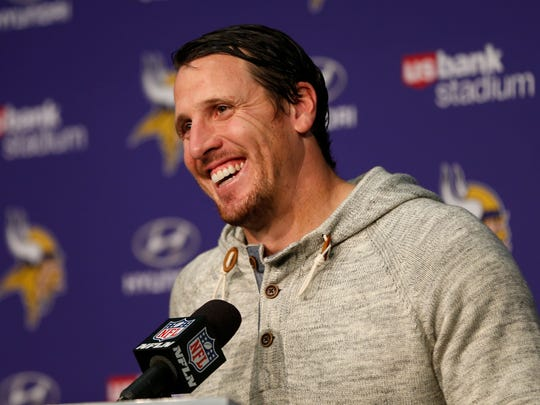 FILE - In this Jan. 1, 2017, file photo, Minnesota Vikings outside linebacker Chad Greenway speaks during a news conference after an NFL football game against the Chicago Bear, in Minneapolis. Greenway is retiring. The team says Greenway will announce his retirement at a news conference Tuesday, March 7, 2017, at Vikings headquarters. The 34-year-old Greenway played 11 seasons and appeared in 156 career games with 144 starts for Minnesota. He ranks fourth in franchise history with 1,334 career tackles. (AP Photo/Jim Mone, File)