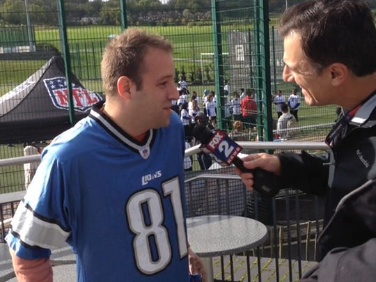 Adam Meller, a Lions fan, at the Play 60 event Oct. 21, 2014, in Guildford, England.