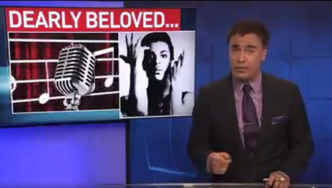 Screenshot of Dan Phillips' broadcast which featured lyrics from Prince songs.