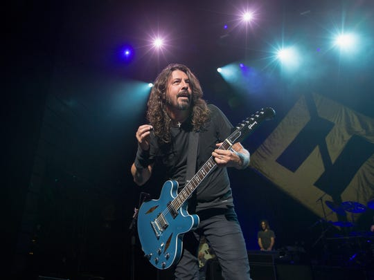 Dave Grohl, frontman for the Foo Fighters , on stage during the iHeartRadio Foo FAnthem Show at The Anthem on October 11 2017 in Washington, DC.
