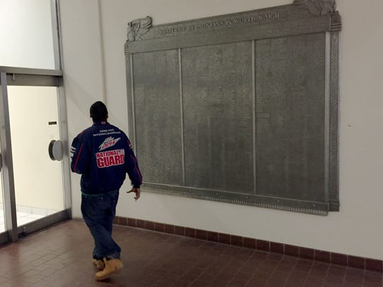 Andre Bradley, 25, of Detroit spotted the names of two veterans who share his last name.