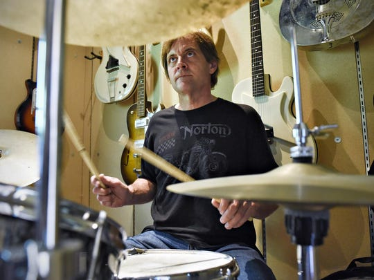 Drummer Jay O'Donnell rehearses for a 2015 gig with