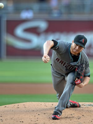 Apr 16, 2016: Diamondbacks starting pitcher Shelby Miller (26) throws the ball against the San Diego Padres during the first inning at Petco Park.