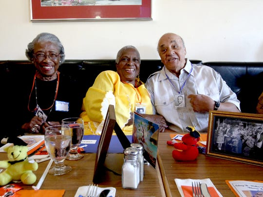 (L to R) Daisy Bradley Ferguson, 91, of Detroit, Dorothy Craig Hughes, 88, of Detroit and William McKenzie, 87, of Las Vegas, Nev. laugh together while talking about their times at the School.