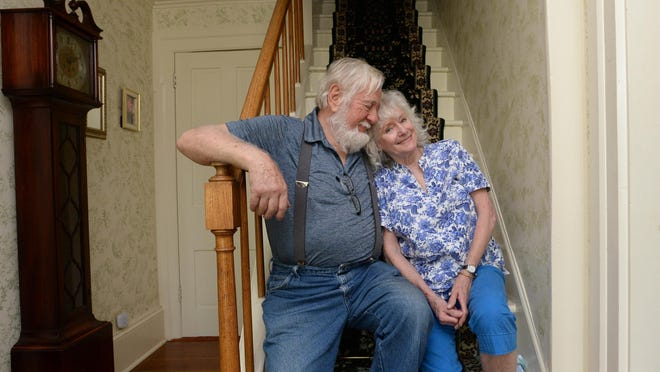 John Huegel, 86, and his wife Linda Huegel, 79, are shown June 18 in their home in McKean Township. The home, one of the oldest in Erie County, was built in 1795. The Huegels have been isolating because of COVID-19 and miss sharing their home with friends.