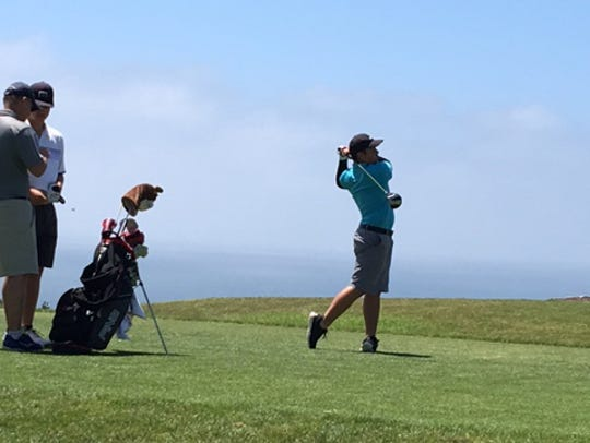 In this file photo, Brentt Salas tees off at the IMG Academy Junior World Championships at Torrey Pines Golf Course in San Diego.