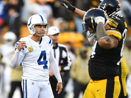 Adam Vinatieri of the Indianapolis Colts reacts after missing a 60-yard field goal during the fourth quarter against the Pittsburgh Steelers at Heinz Field on Sunday. Pittsburgh won the game 26-24. (Photo by Joe Sargent/Getty Images)