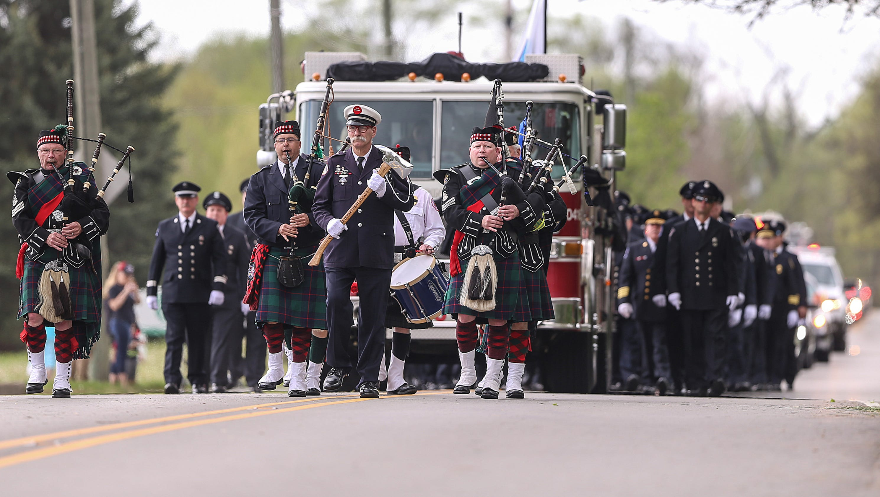 Photos Funeral Procession For Lawrence Firefighter Passes