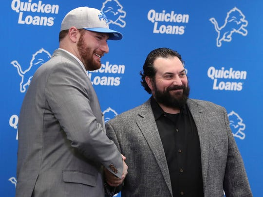 Detroit Lions first-round pick Frank Ragnow stands with head coach Matt Patricia on Friday, April 27, 2018 in Allen Park.