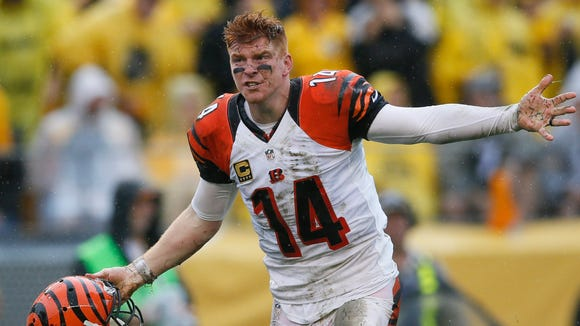 Bengals quarterback Andy Dalton pleads his case to an official in the third quarter of Sunday's loss to the Steelers.