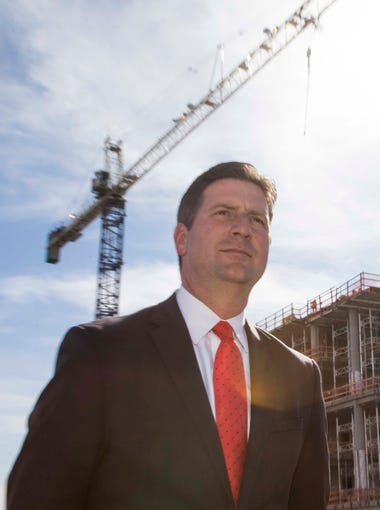 Phoenix Mayor Greg Stanton during the topping-off ceremony of the $136 million University of Arizona Biosciences Partnership Building in downtown Phoenix, on Thursday March 3, 2016.