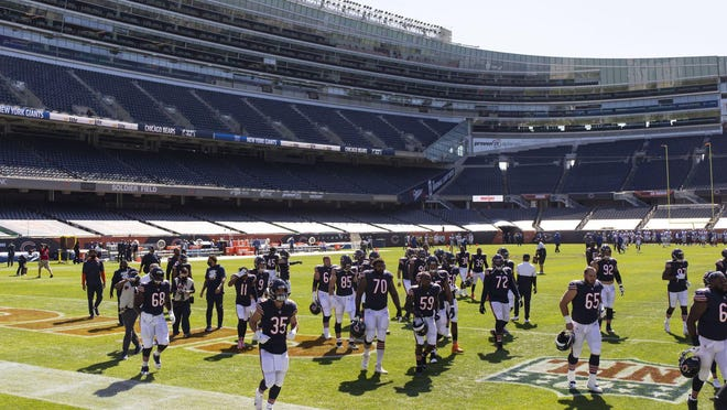 The Chicago Bears warm up Sunday, Sept. 20, 2020 at Soldier Field.