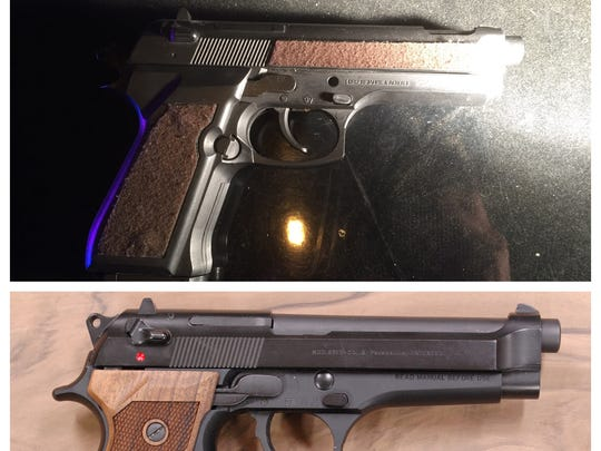 Ventura police on Tuesday arrested a juvenile in connection with pointing a fake gun at another person. Authorities said the replica that was recovered is in the top of the photo and an image of an actual gun is on the bottom the photo.