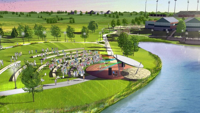 An amphitheater overlooking the Civic Campus pond would be available for public concerts and private events.