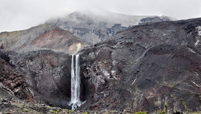 Loowit Falls spills in spectacular fashion from the mouth of the crater at Mount St. Helens.