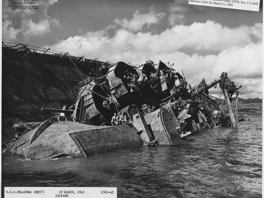 The  USS Oklahoma during 1943 salvage operations at