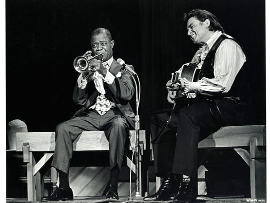 """Louis Armstrong and Johnny Cash perform """"Blue Yodel #9"""" on the Johnny Cash Show, 1970. In 1930, Armstrong had recorded this song on trumpet with Jimmie Rodgers in an uncredited recording session in Hollywood, California. Here he plays with Johnny Cash for one of his final public appearances before his death in 1971."""