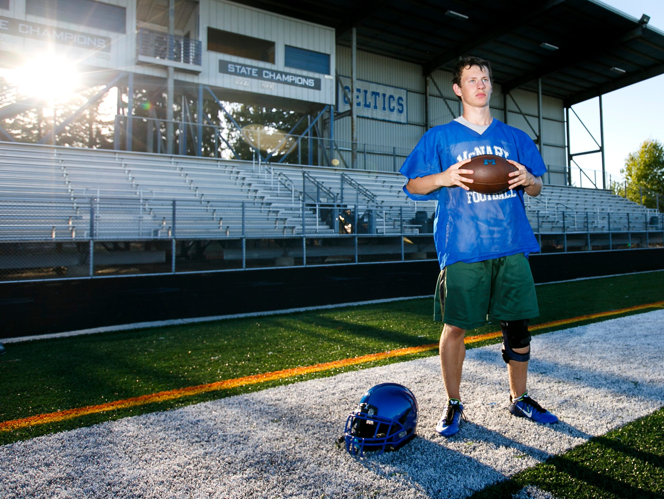 A.J. Johnk is a senior running back and kicker for the McNary High School football team. After recovering from a torn ACL in 2014, Johnk is back and ready to play for the varsity team again.